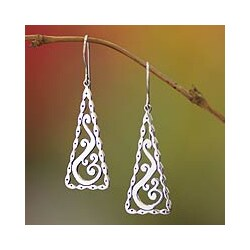 Sterling Silver 'Bamboo Lace' Dangle Earrings (Indonesia)
