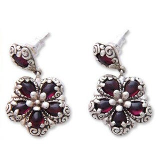 Handmade Sterling Silver 'Red Frangipani' Garnet Flower Earrings (Indonesia)
