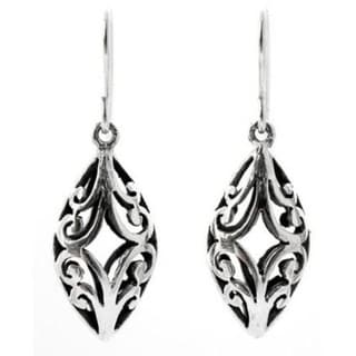 Sterling Silver 'Lace Arabesque' Dangle Earrings (Thailand)