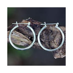 Sterling Silver 'Moonlit Goddess' Hoop Earrings (Indonesia)