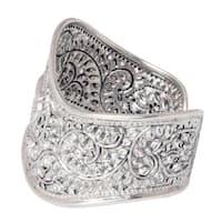 Handmade Sterling Silver 'Siamese Elephant' Cuff Bracelet (Thailand)
