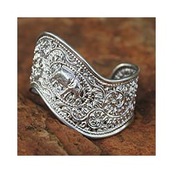 Sterling Silver 'Siamese Elephant' Cuff Bracelet (Thailand)