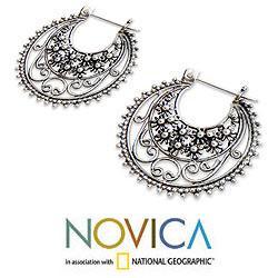 Sterling Silver 'Moonlit Stars' Hoop Earrings (Indonesia)