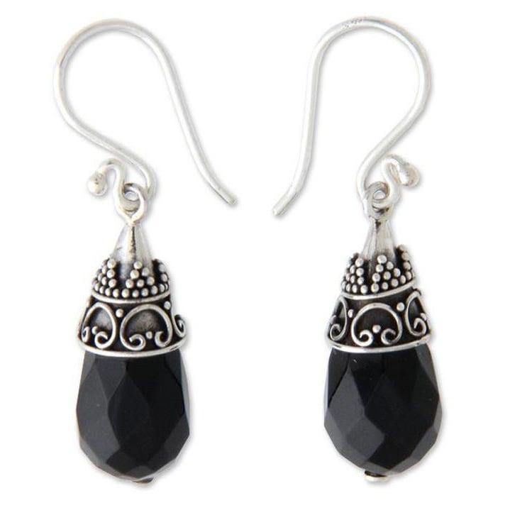 Top On Ternding Handmade Jewelry Black Onyx Sterling Silver Overlay Earring 1.5