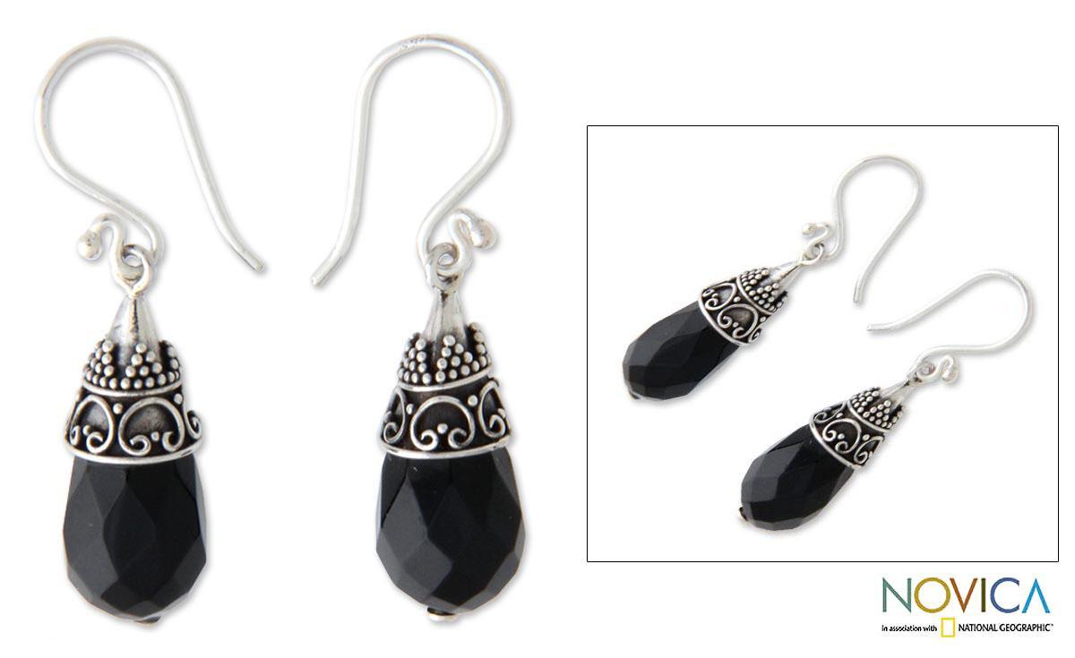Sterling Silver 'Bali Sentinel' Onyx Drop Earrings (Indonesia)