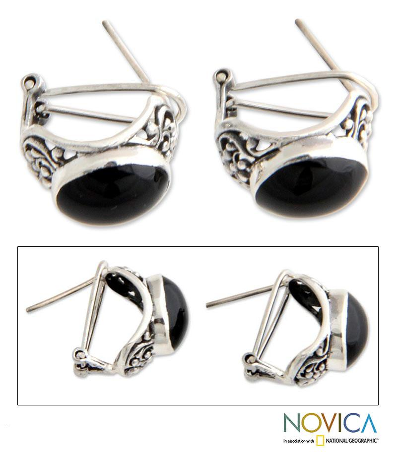 Midnight Bower Black Polished Oval Onyx set in Oxidized 925 Sterling Silver Featuring Omega Backs Womens Earrings (Indonesia)