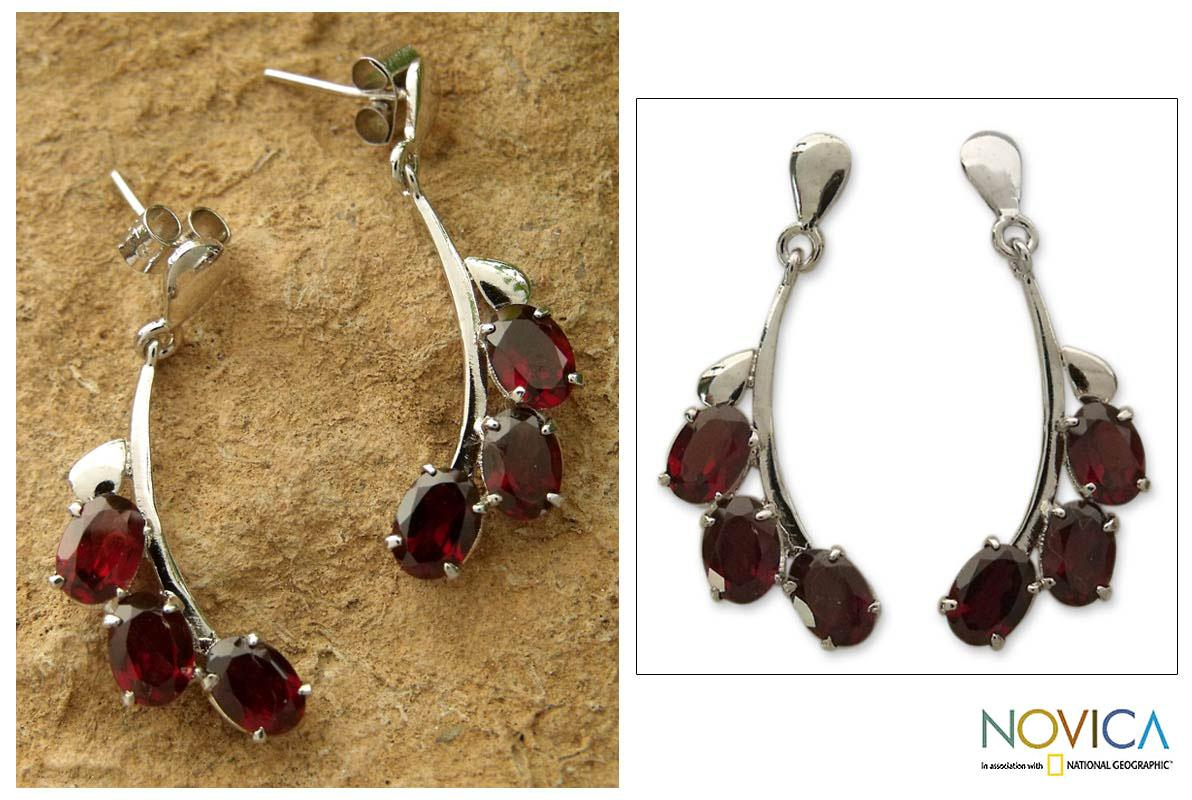 Bright Bombay Bloossoms 5 TCW of Deep Red Oval Garnets Set in Highly Polished 925 Sterling Silver Womens Dangle Earrings (India) - Thumbnail 0