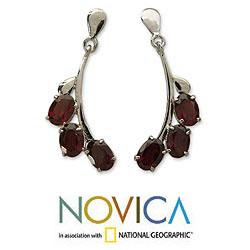 Bright Bombay Bloossoms 5 TCW of Deep Red Oval Garnets Set in Highly Polished 925 Sterling Silver Womens Dangle Earrings (India) - Thumbnail 1