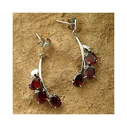Bright Bombay Bloossoms 5 TCW of Deep Red Oval Garnets Set in Highly Polished 925 Sterling Silver Womens Dangle Earrings (India)