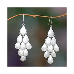 Handmade Sterling Silver 'Shower of Petals' Waterfall Earrings (Indonesia)
