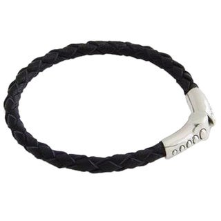Handmade Men's Sterling Silver 'Pulse' Leather Braided Bracelet (Indonesia)