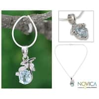Handmade Sterling Silver 'In Love' Blue Topaz Necklace (India)