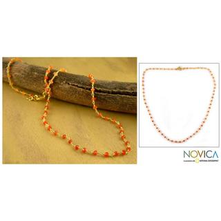Handmade gold-plated 'Ginger' Carnelian Necklace (India)
