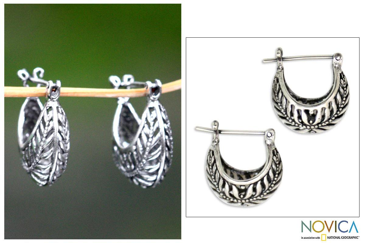 Sterling Silver 'Swallow's Nest' Half Hoop Earrings (Indonesia)
