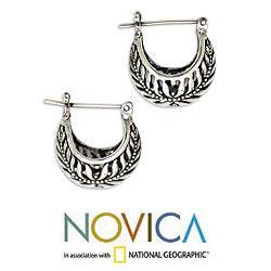 Sterling Silver 'Swallow's Nest' Half Hoop Earrings (Indonesia) - Thumbnail 1