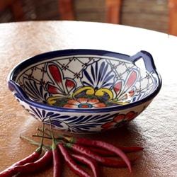 Handcrafted Ceramic 'Marigold Mosaic' Talavera Bowl (Mexico)