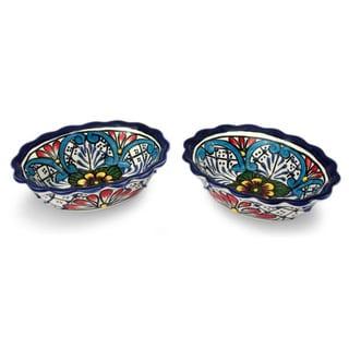Set of 2 Handmade Ceramic 'Daisy Stars' Talavera Bowls (Mexico)