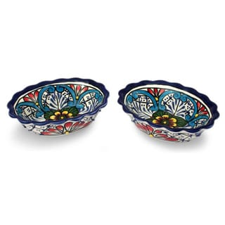 Set of 2 Handcrafted Ceramic 'Daisy Stars' Talavera Bowls (Mexico)
