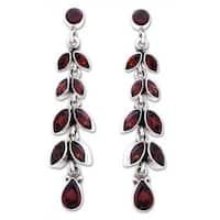 Handmade Sterling Silver Crimson Leaves Red Garnet Floral Earrings (India)