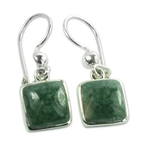 Handmade Sterling Silver Love's Riches Jade Earrings (Guatemala)