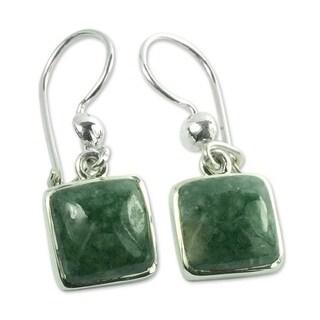 Handmade Sterling Silver 'Love's Riches' Jade Earrings (Guatemala)
