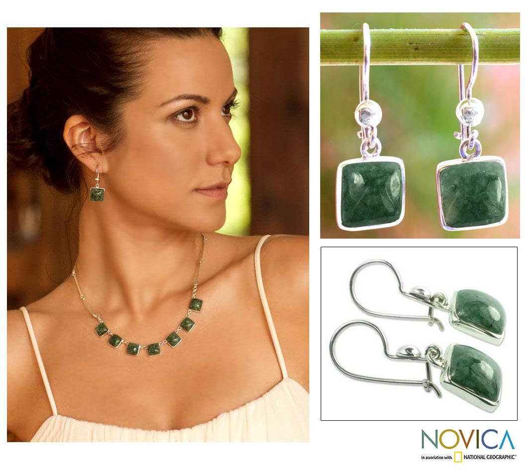 Sterling Silver 'Love's Riches' Jade Earrings (Guatemala)