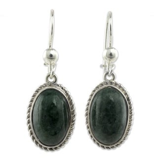 Eternal Love Green Jade Oval Gemstones with Rope Bezels Adorn 925 Sterling Silver Classic Womens Dangle Earrings (Guatemala)