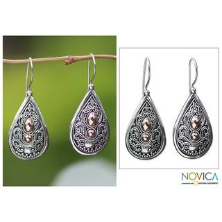 Handmade Sterling Silver Gold Accent 'Bali Antique' Dangle Earrings (Indonesia)