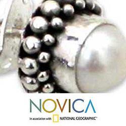 Sterling Silver 'Discretion' Pearl Stud Earrings (6 mm) (Indonesia)