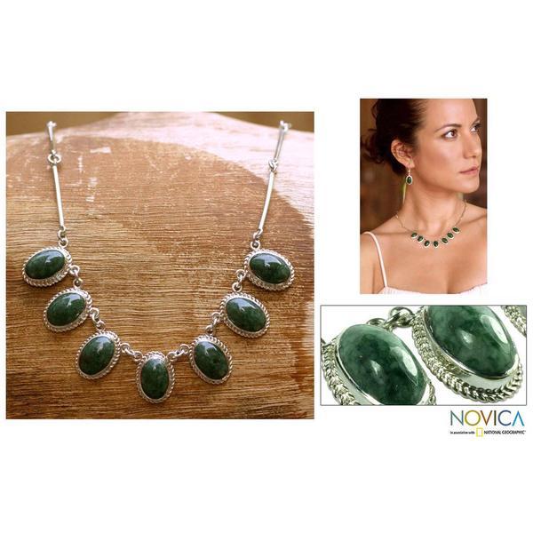 Handmade Eternal Love Green Jade Oval Gemstones In Rope