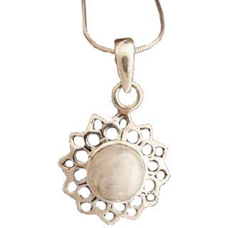 Handmade Sterling Silver 'Midnight Sun' Moonstone Necklace (India)