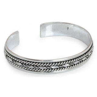 Handmade Sterling Silver 'Bamboo Illusions' Cuff Bracelet (Thailand)