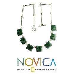 Handmade Sterling Silver 'Love Immortal' Jade Necklace (Guatemala) - Thumbnail 1