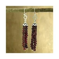 Sterling Silver 'Chimes of Love' Garnet Drop Earrings (India)