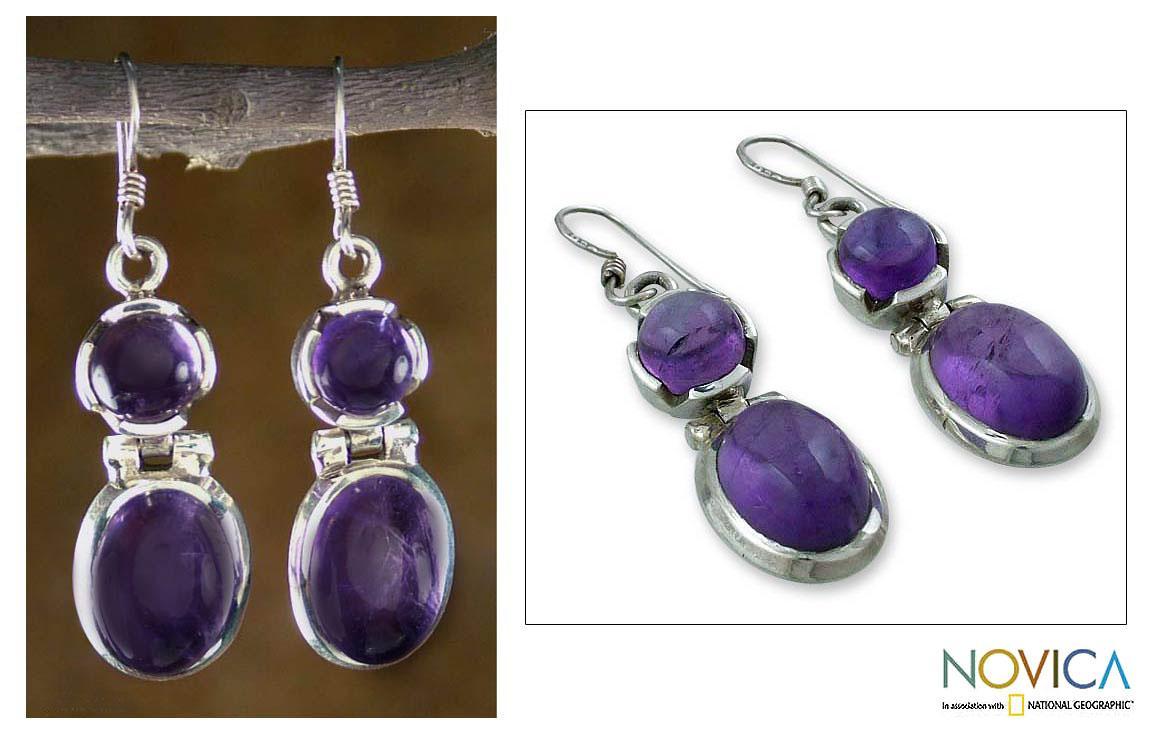 Sterling Silver 'New Delhi Duet' Amethyst Earrings (India)