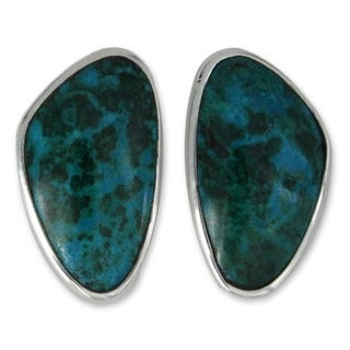 Silver 'Allure of Tulum' Chrysocolla Earrings (Mexico)