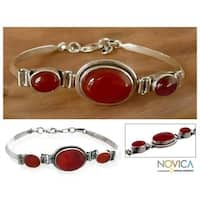 Handmade Sterling Silver 'Mumbai Mystique' Carnelian Bracelet (India) - Red