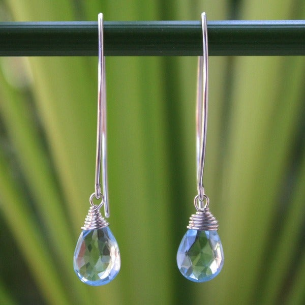 Handmade Sublime Siam Faceted Blue Topaz Drops with 925 Sterling Silver Wrap Setting Womens Dangle Earrings (Thailand)