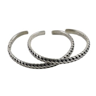Handmade Set of 2 Sterling Silver 'Unison' Cuff Bracelets (Thailand)