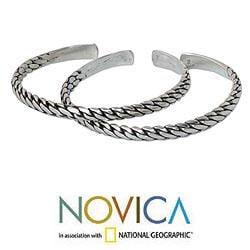 Handmade Set of 2 Sterling Silver 'Unison' Cuff Bracelets (Thailand) - Thumbnail 1