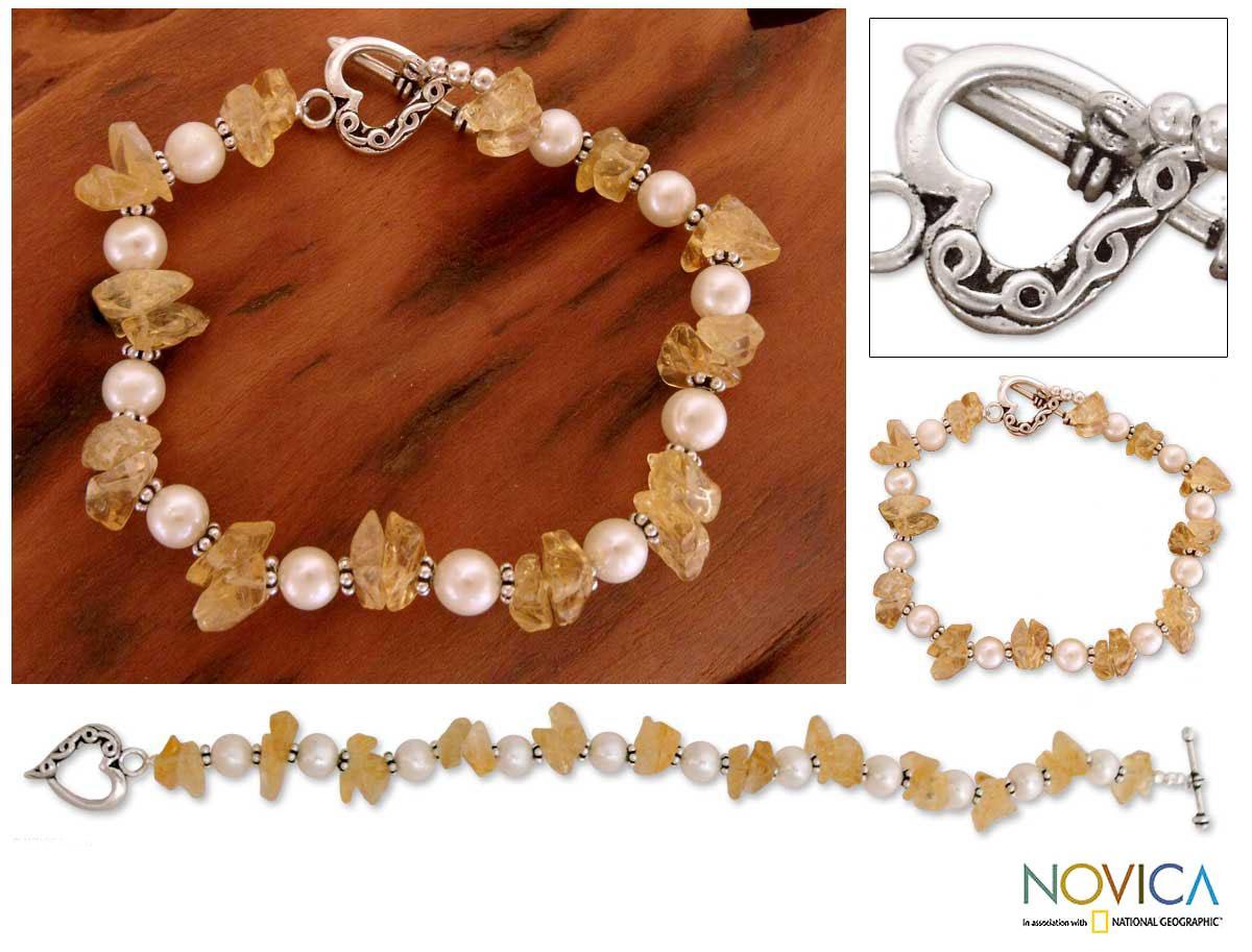 Sterling Silver 'Summer Moon' Pearl Citrine Bracelet (6 mm) (India)