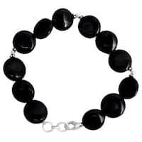 Handmade Sterling Silver 'Destiny' Onyx Beaded Bracelet (India)