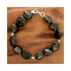 Sterling Silver 'Destiny' Onyx Beaded Bracelet (India)
