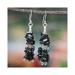 Handmade Sterling Silver 'Rejoice' Obsidian Waterfall Earrings (India)