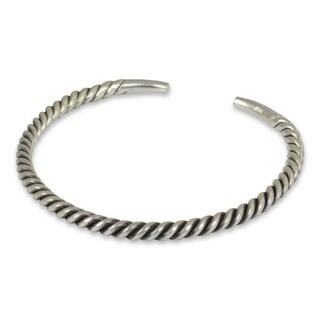 Handmade Thai Swirl Tubular Stretched Coil of 925 Sterling Silver Mens Narrow Cuff Bracelet (Thailand)