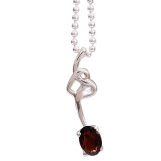 Sterling Silver 'Love Knot' Garnet Necklace (India)