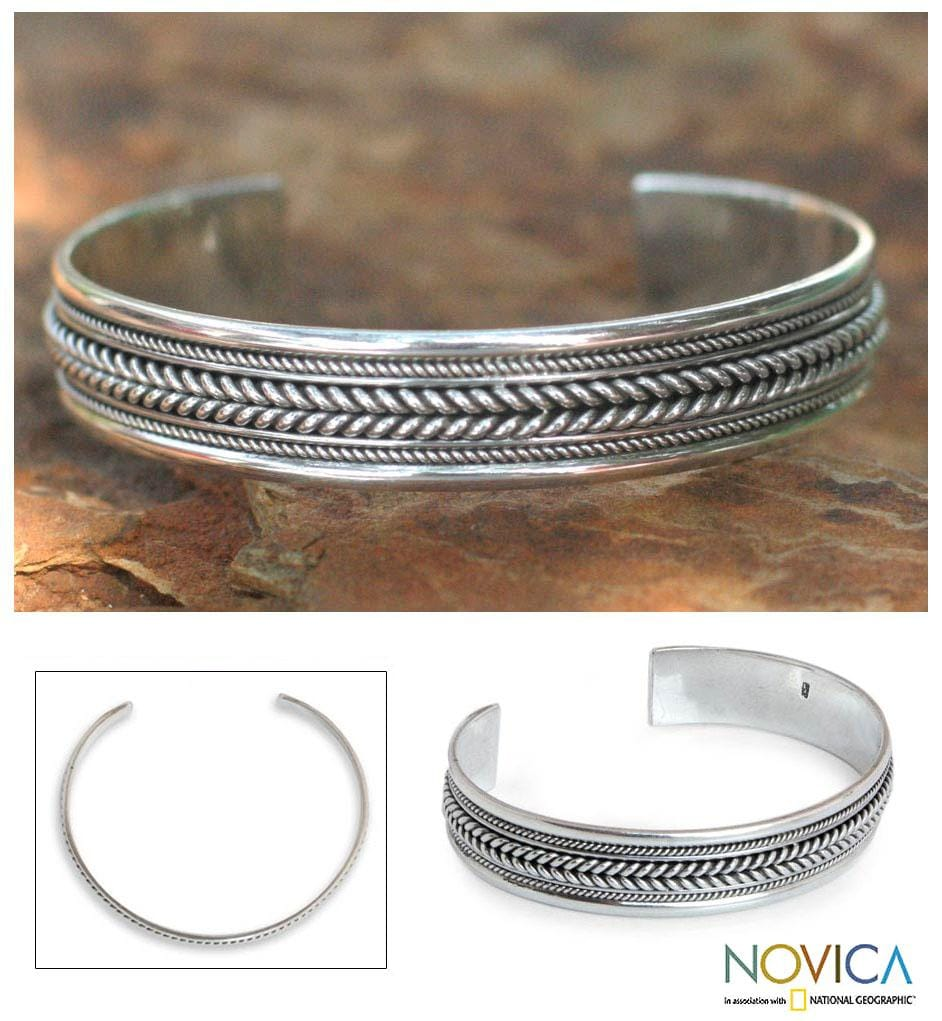 Lanna Illusions Braid Patterns Coil Around the Wrist in this 925 Sterling Silver Contemporary Womens Cuff Bracelet (Thailand)