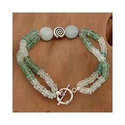 Sterling Silver 'Seashore' Aquamarine Agate Bracelet (India)
