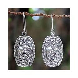 Handmade Sterling Silver 'Elephant Roses' Flower Earrings (Thailand)
