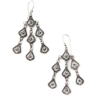 Bali Belle Handmade Artisan Articulated Delicate Oxidized 925 Sterling Silver Long Chandelier Earrings (Indonesia)